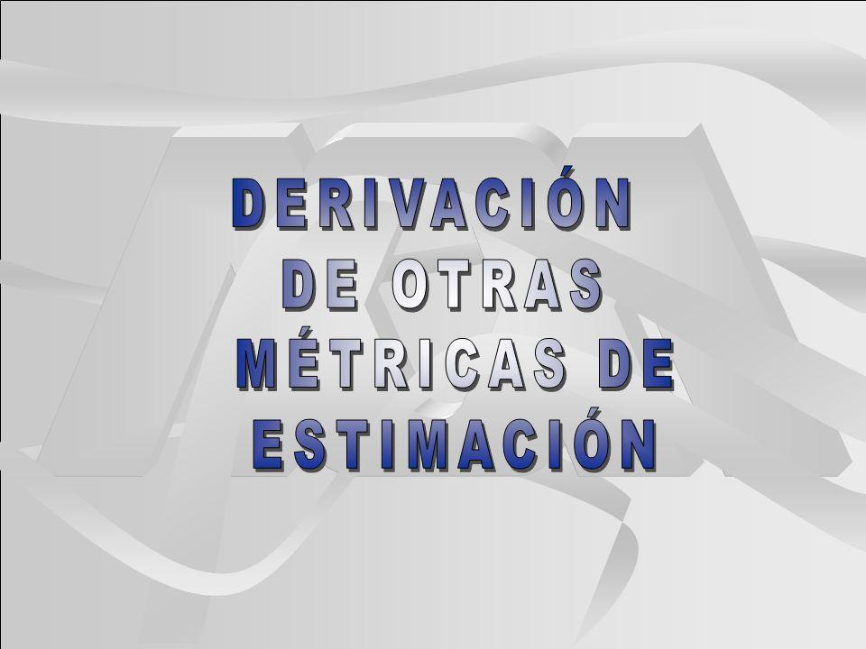 DERIVACIÓN DE OTRAS MÉTRICAS DE ESTIMACIÓN
