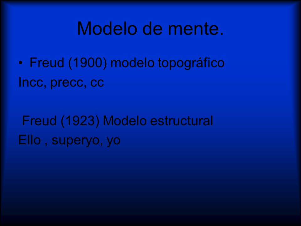 Modelo de mente. Freud (1900) modelo topográfico Incc, precc, cc