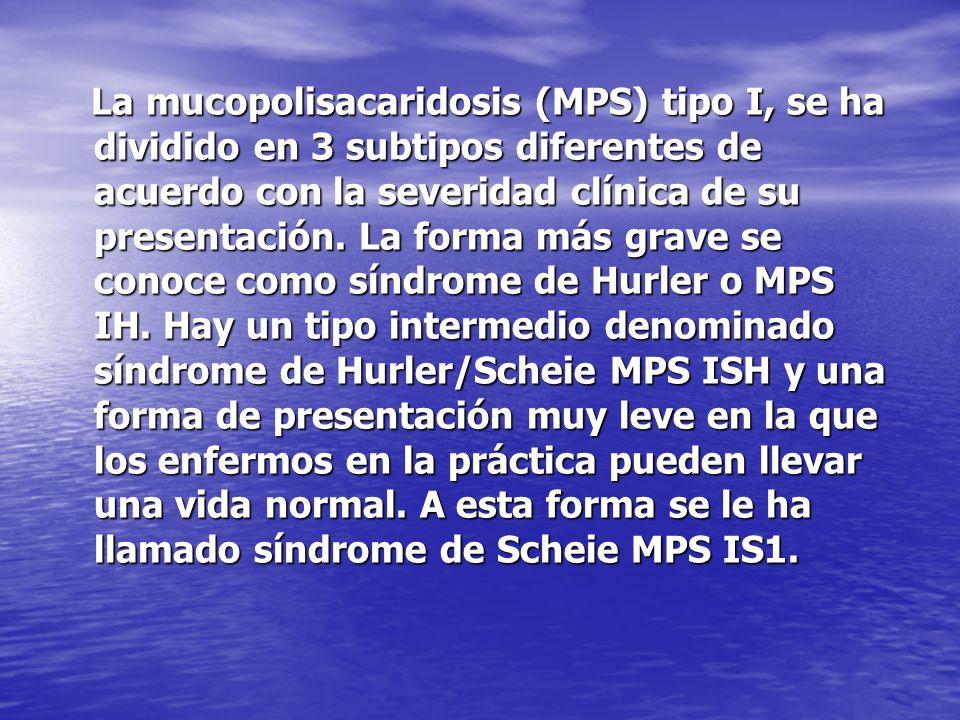 La mucopolisacaridosis (MPS) tipo I, se ha dividido en 3 subtipos diferentes de acuerdo con la severidad clínica de su presentación.