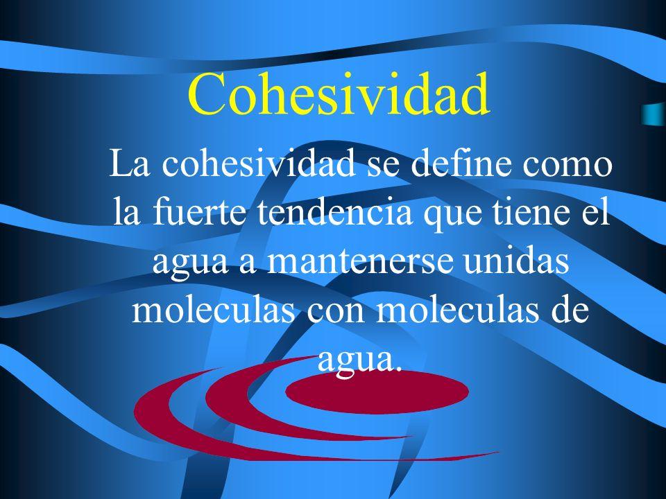 Cohesividad La cohesividad se define como la fuerte tendencia que tiene el agua a mantenerse unidas moleculas con moleculas de agua.