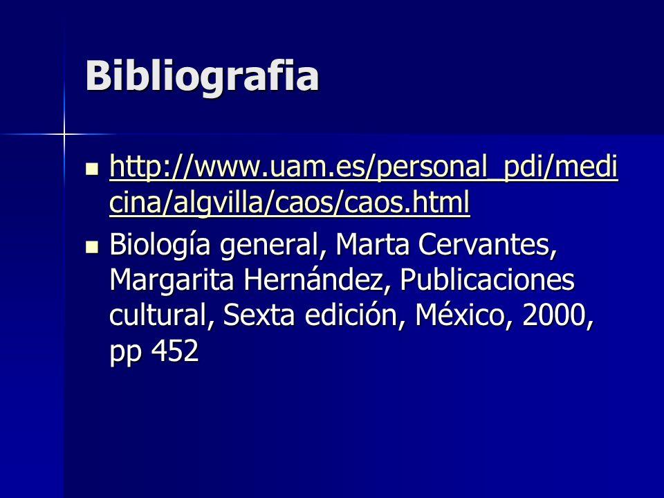 Bibliografia http://www.uam.es/personal_pdi/medicina/algvilla/caos/caos.html.