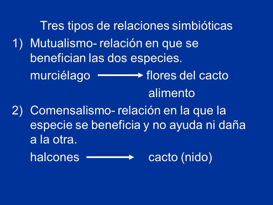 Tres tipos de relaciones simbióticas