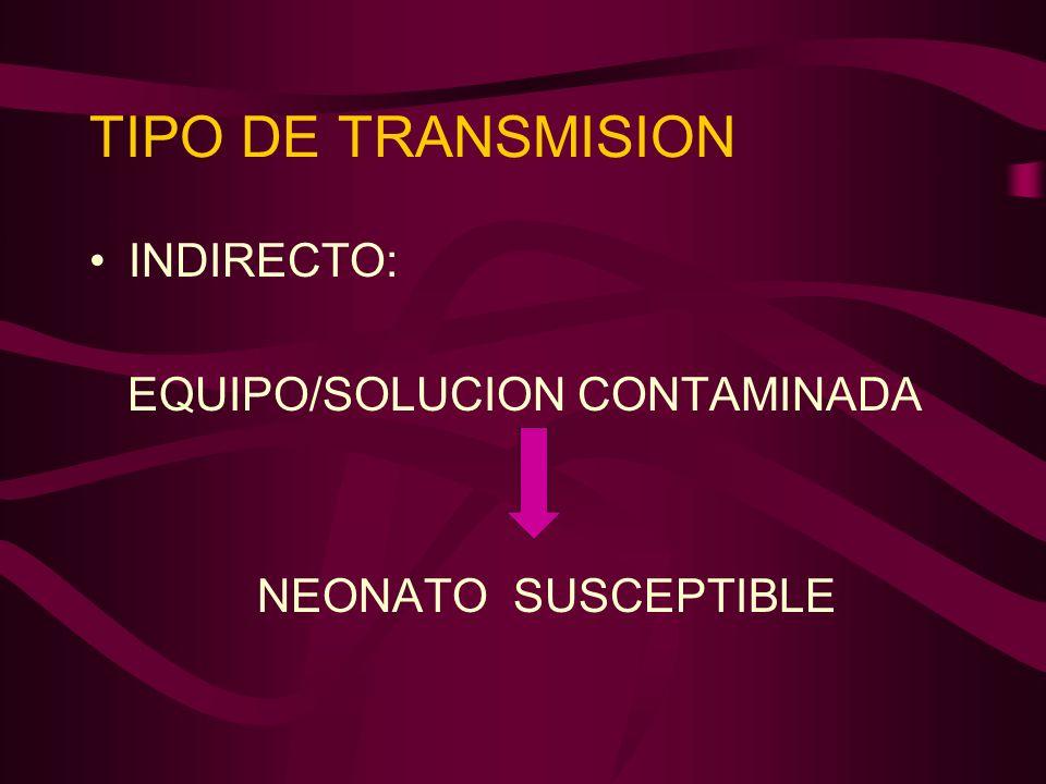 TIPO DE TRANSMISION INDIRECTO: EQUIPO/SOLUCION CONTAMINADA