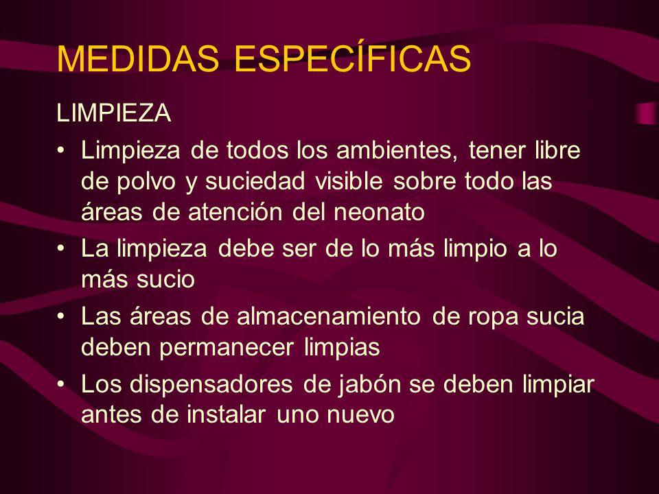 MEDIDAS ESPECÍFICAS LIMPIEZA