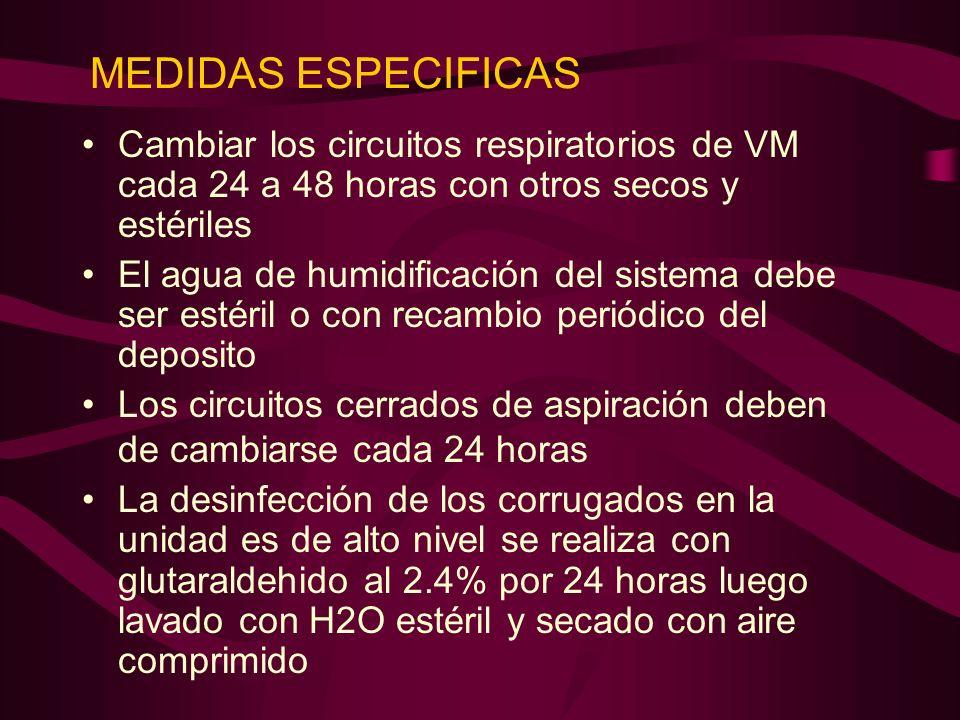 MEDIDAS ESPECIFICAS Cambiar los circuitos respiratorios de VM cada 24 a 48 horas con otros secos y estériles.