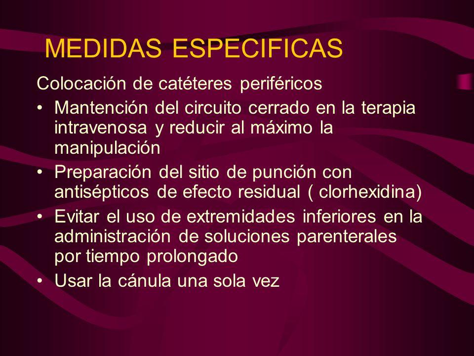 MEDIDAS ESPECIFICAS Colocación de catéteres periféricos