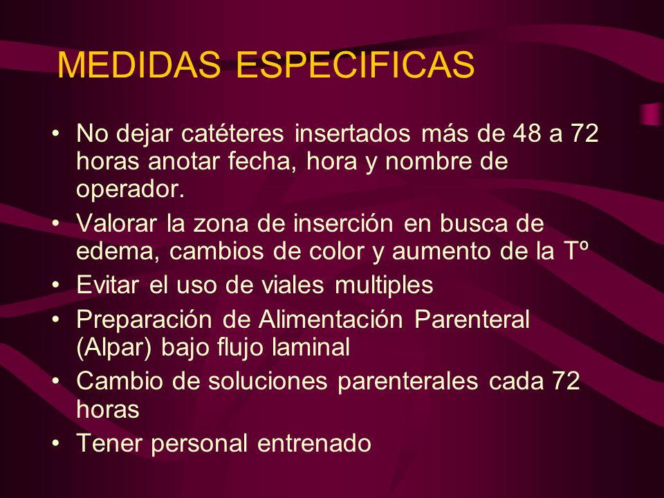 MEDIDAS ESPECIFICAS No dejar catéteres insertados más de 48 a 72 horas anotar fecha, hora y nombre de operador.