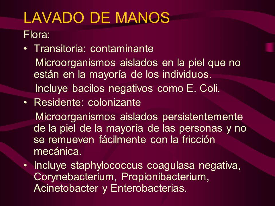 LAVADO DE MANOS Flora: Transitoria: contaminante