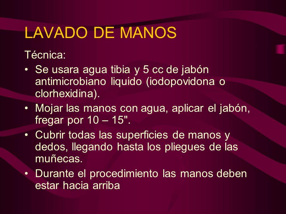 LAVADO DE MANOS Técnica: