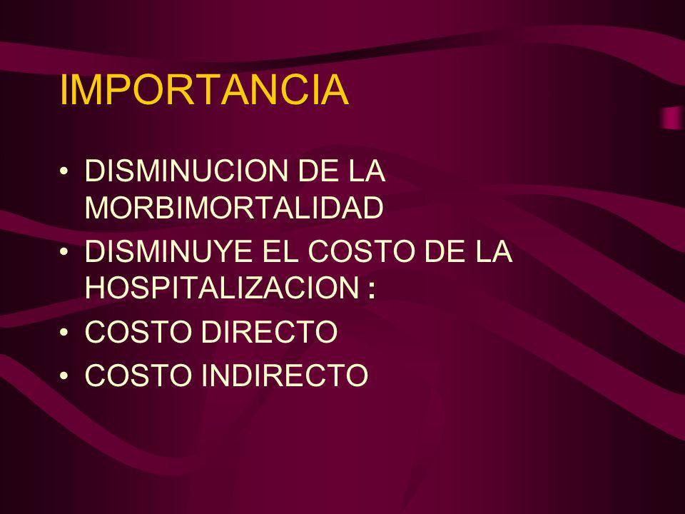 IMPORTANCIA DISMINUCION DE LA MORBIMORTALIDAD