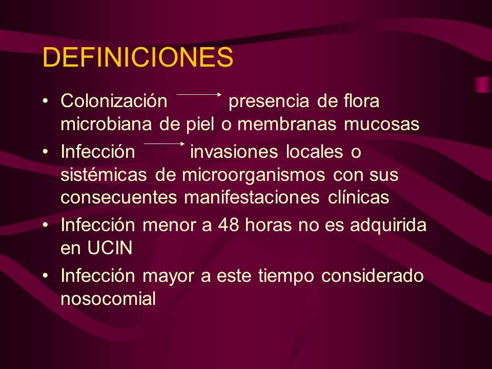 DEFINICIONES Colonización presencia de flora microbiana de piel o membranas mucosas.