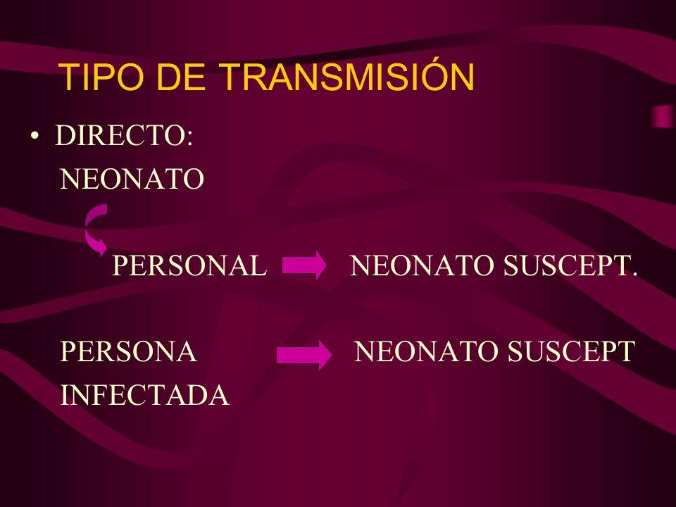 TIPO DE TRANSMISIÓN DIRECTO: NEONATO PERSONAL NEONATO SUSCEPT.