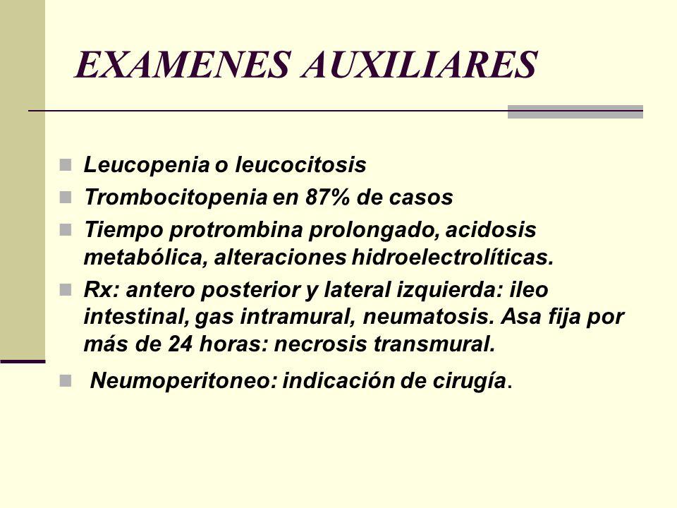 EXAMENES AUXILIARES Leucopenia o leucocitosis