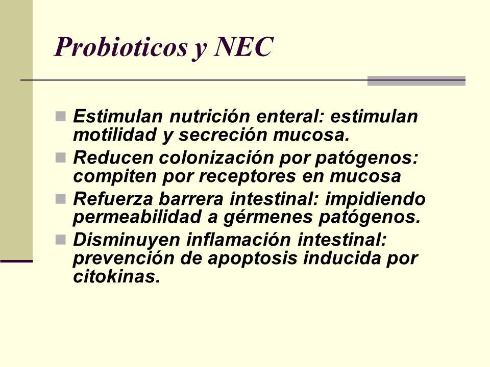Probioticos y NEC Estimulan nutrición enteral: estimulan motilidad y secreción mucosa.