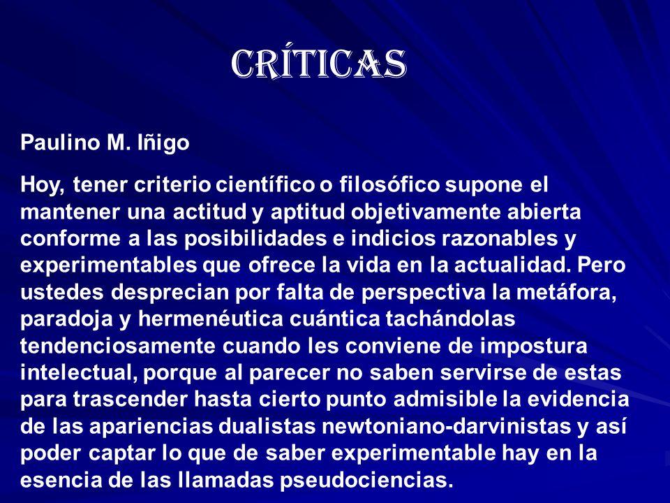 Críticas Paulino M. Iñigo