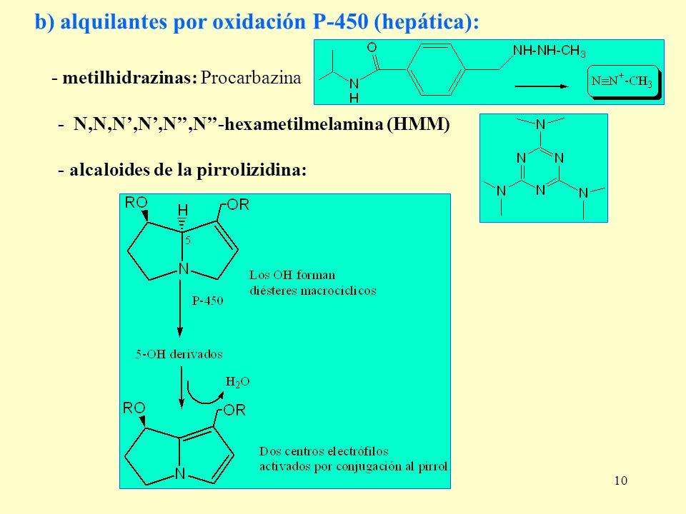 b) alquilantes por oxidación P-450 (hepática):