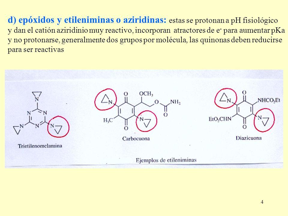 d) epóxidos y etileniminas o aziridinas: estas se protonan a pH fisiológico