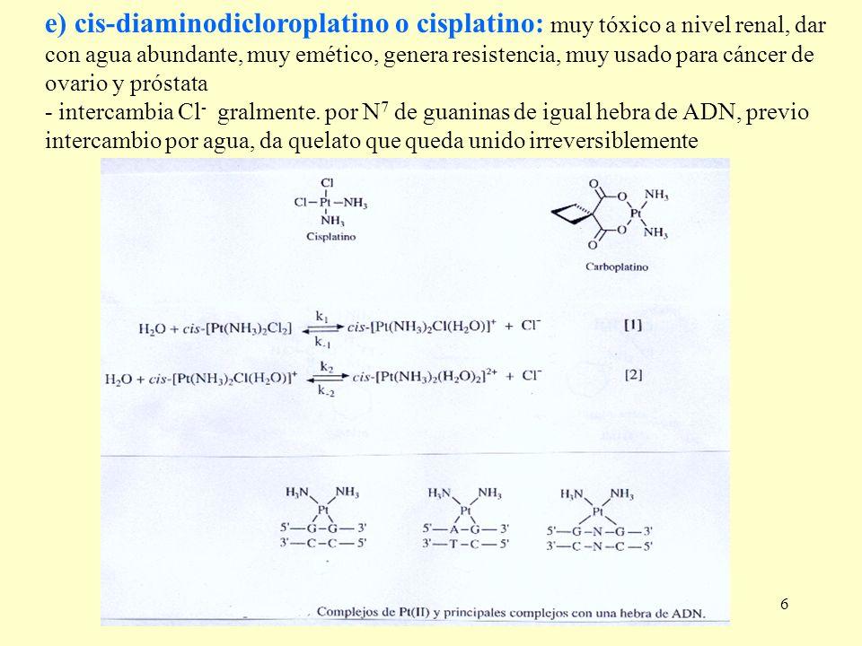 e) cis-diaminodicloroplatino o cisplatino: muy tóxico a nivel renal, dar
