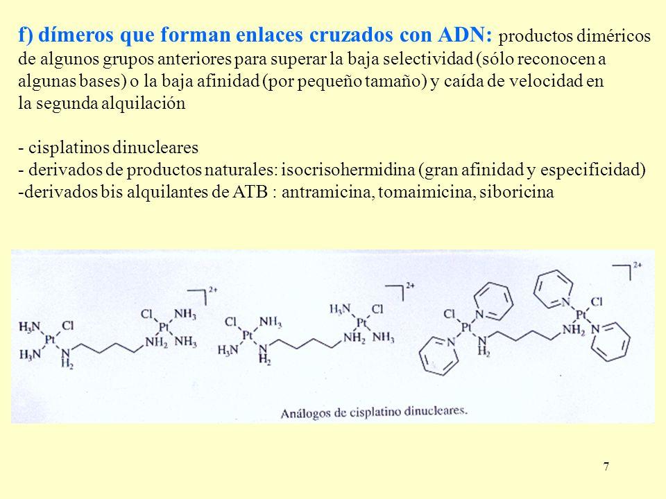f) dímeros que forman enlaces cruzados con ADN: productos diméricos