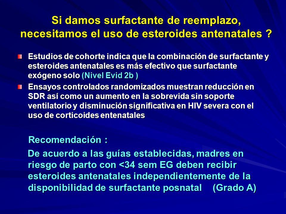 Si damos surfactante de reemplazo, necesitamos el uso de esteroides antenatales
