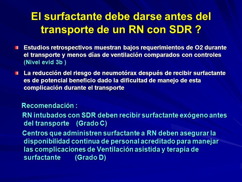 El surfactante debe darse antes del transporte de un RN con SDR