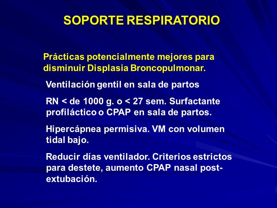 SOPORTE RESPIRATORIO Prácticas potencialmente mejores para disminuir Displasia Broncopulmonar. Ventilación gentil en sala de partos.
