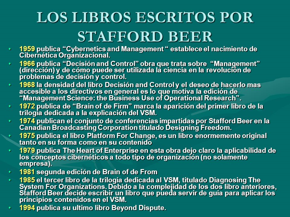 LOS LIBROS ESCRITOS POR STAFFORD BEER
