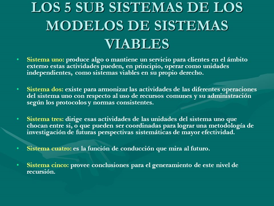 LOS 5 SUB SISTEMAS DE LOS MODELOS DE SISTEMAS VIABLES