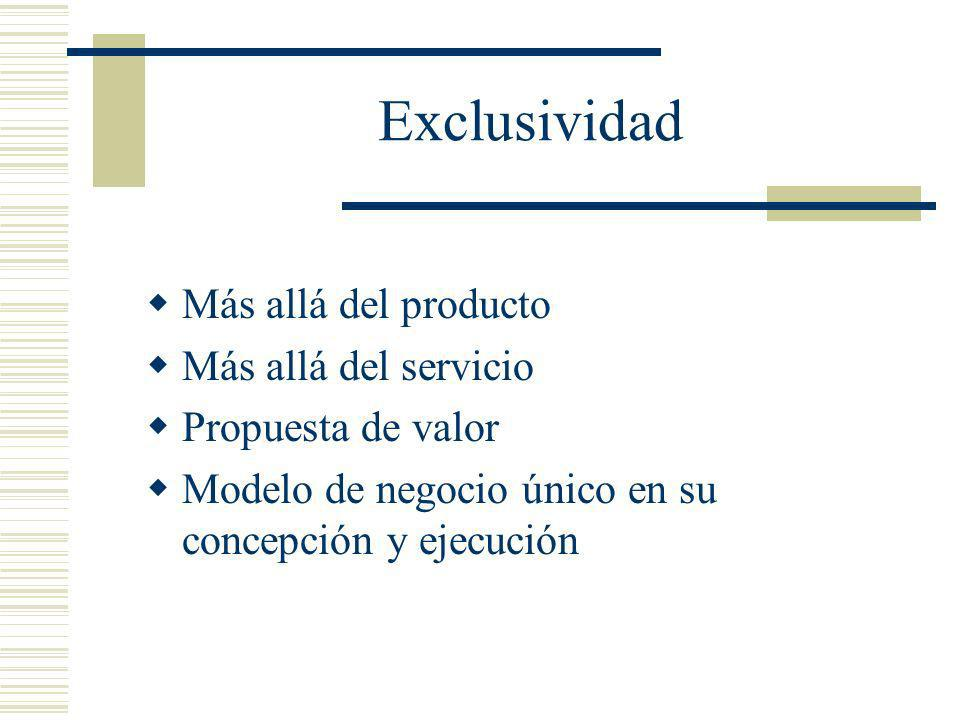 Exclusividad Más allá del producto Más allá del servicio
