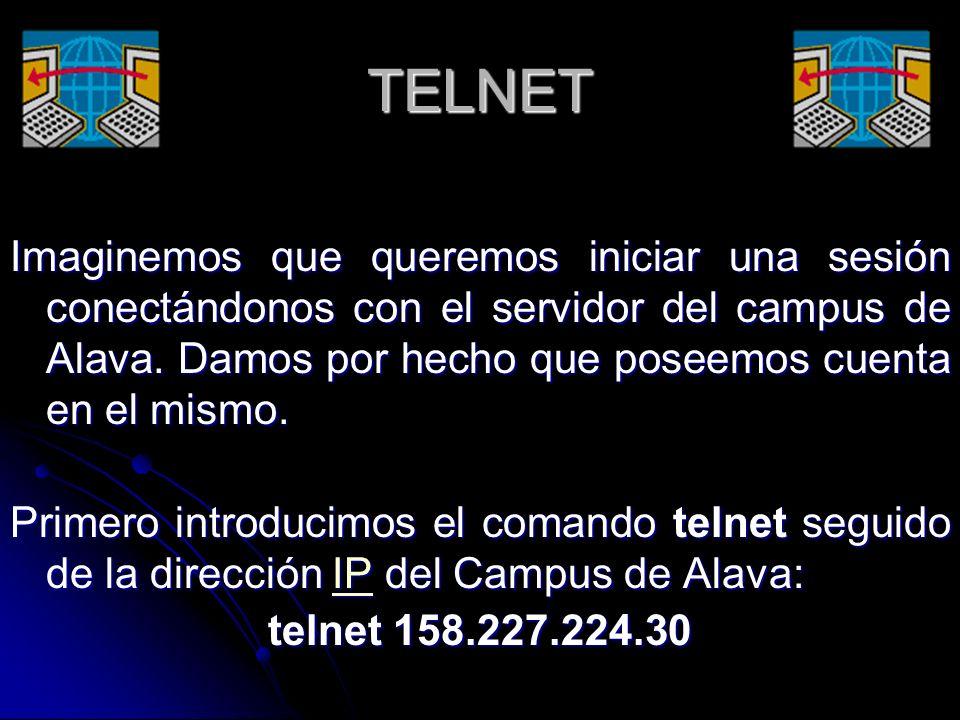 TELNET Imaginemos que queremos iniciar una sesión conectándonos con el servidor del campus de Alava. Damos por hecho que poseemos cuenta en el mismo.