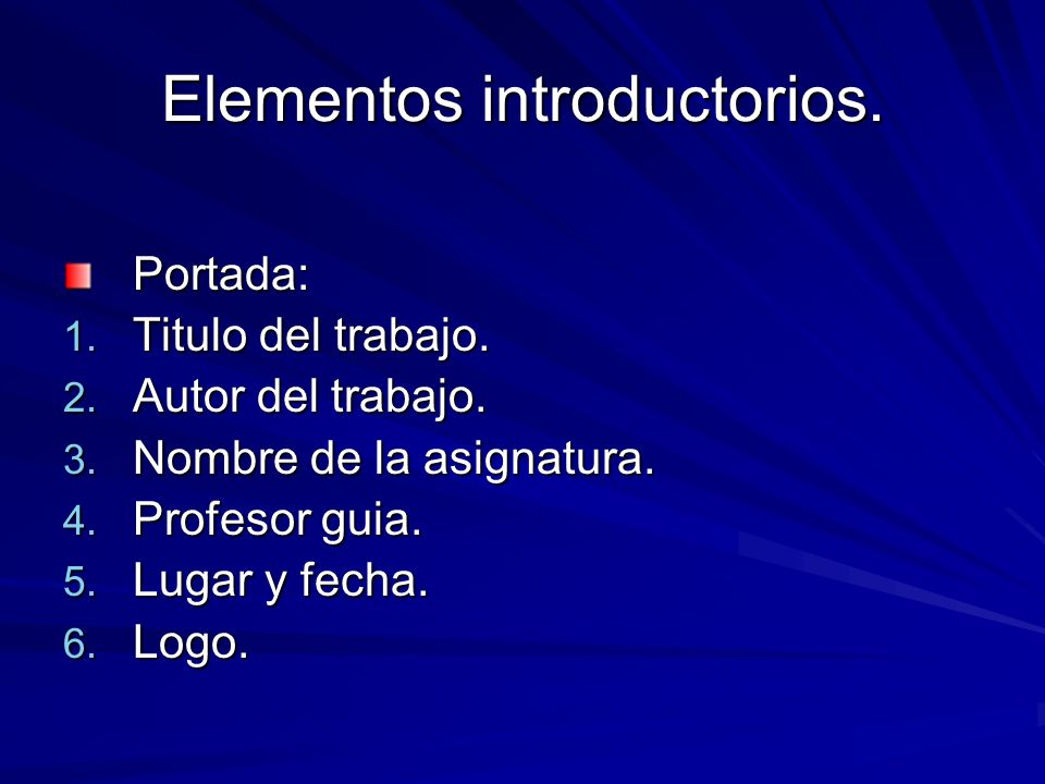Elementos introductorios.
