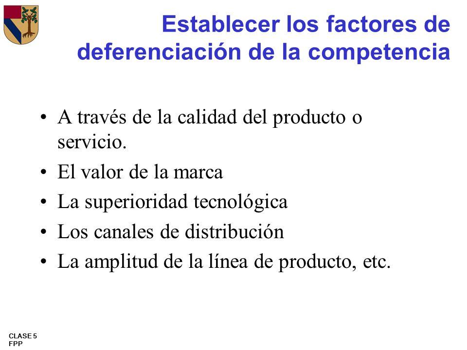 Establecer los factores de deferenciación de la competencia