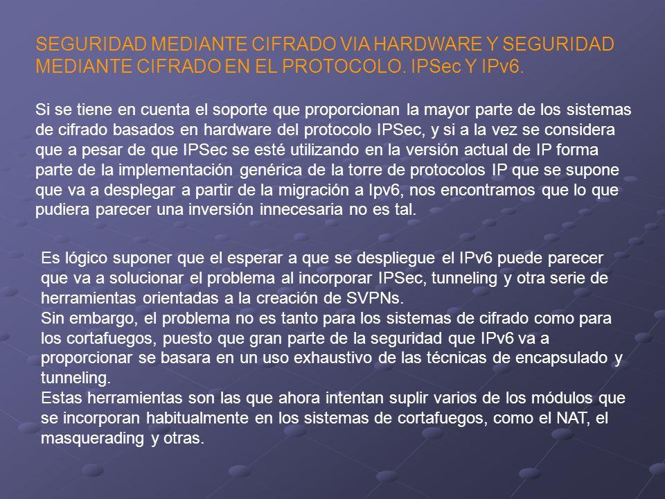 SEGURIDAD MEDIANTE CIFRADO VIA HARDWARE Y SEGURIDAD MEDIANTE CIFRADO EN EL PROTOCOLO. IPSec Y IPv6.