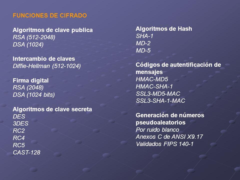 FUNCIONES DE CIFRADO Algoritmos de clave publica. RSA (512-2048) DSA (1024) Intercambio de claves.