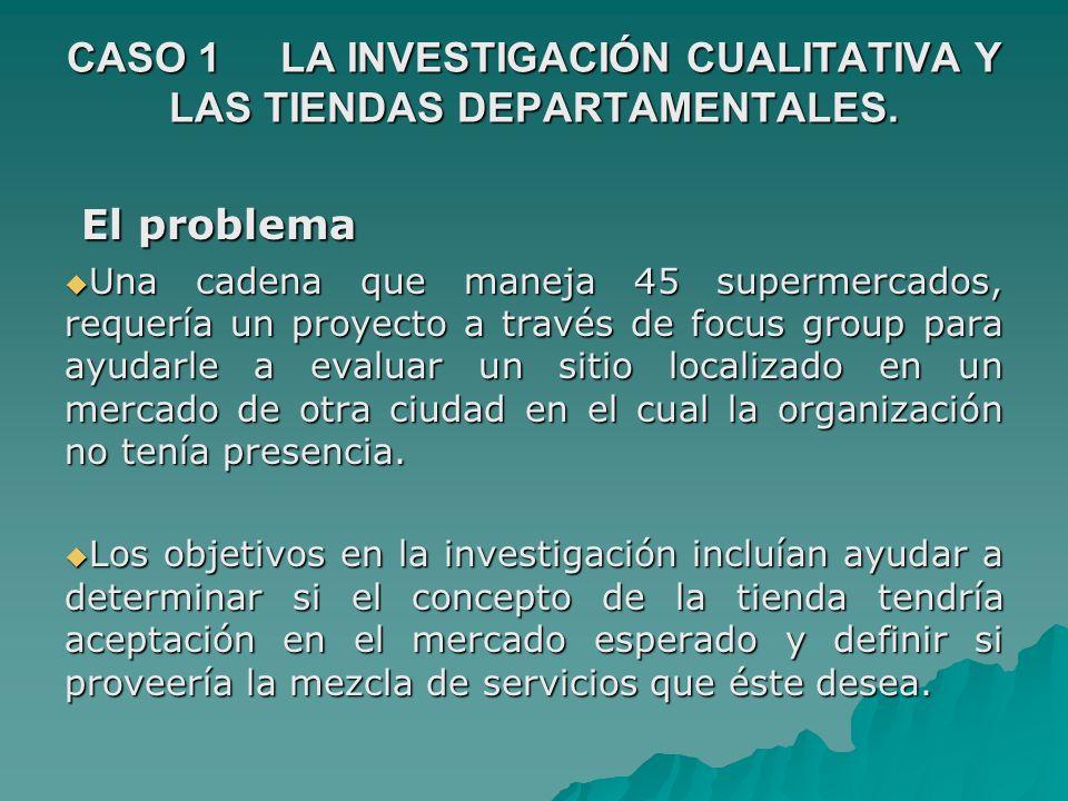 CASO 1 LA INVESTIGACIÓN CUALITATIVA Y LAS TIENDAS DEPARTAMENTALES.