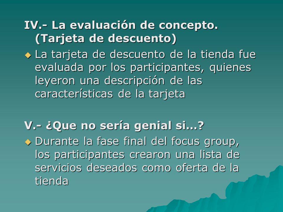 IV.- La evaluación de concepto. (Tarjeta de descuento)