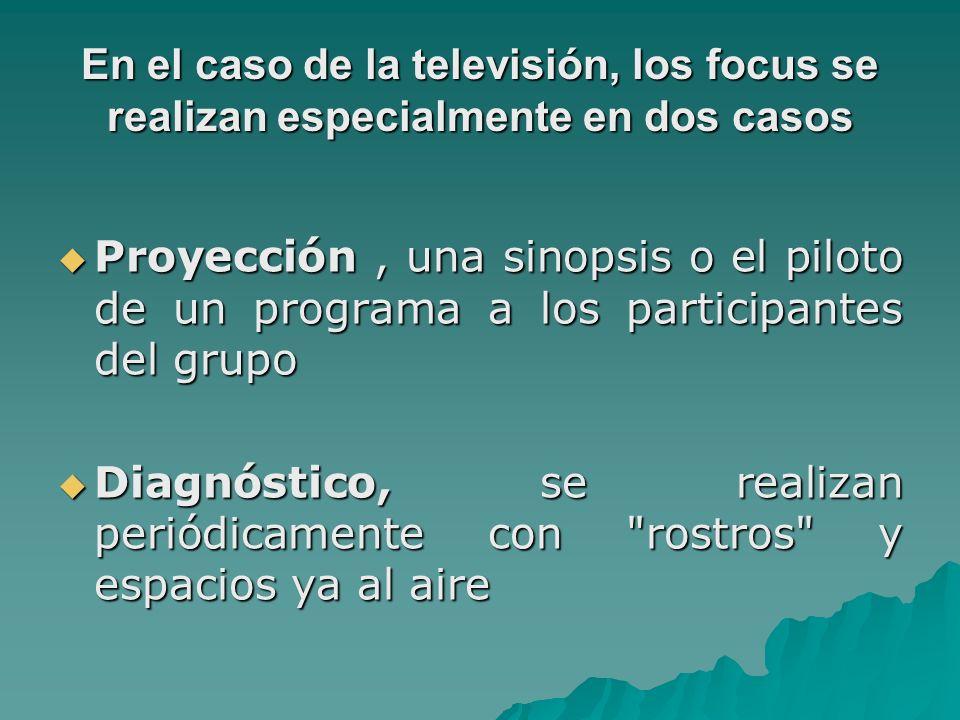 En el caso de la televisión, los focus se realizan especialmente en dos casos