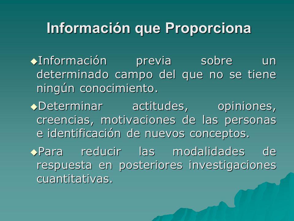 Información que Proporciona