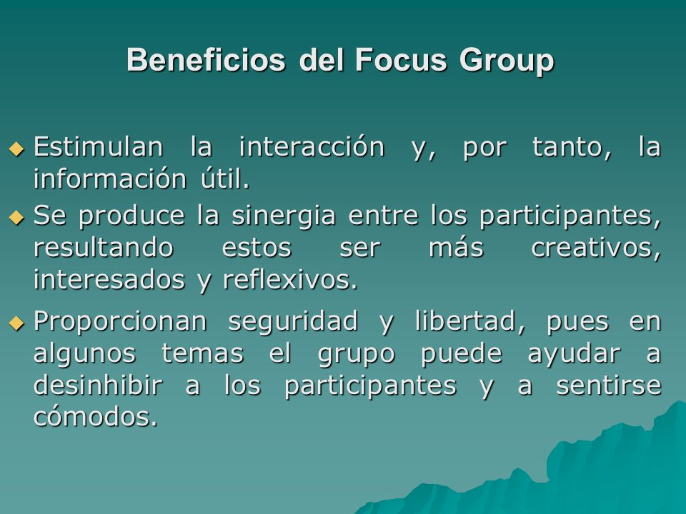 Beneficios del Focus Group