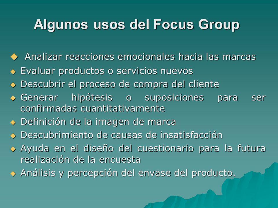 Algunos usos del Focus Group