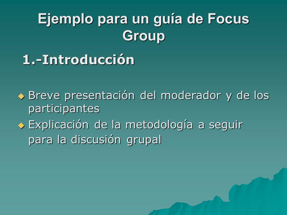 Ejemplo para un guía de Focus Group