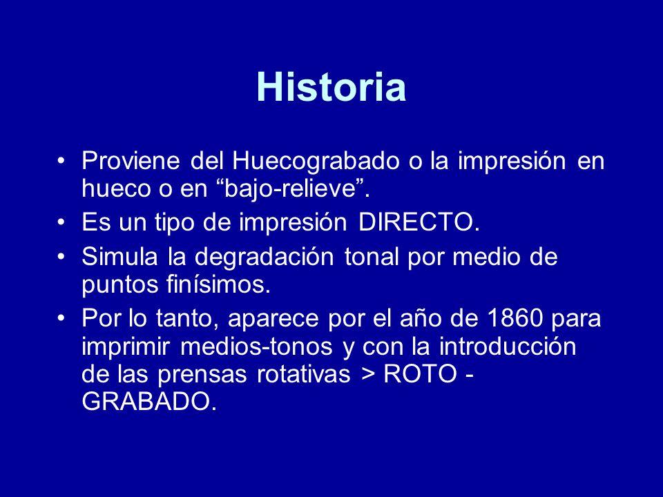 Historia Proviene del Huecograbado o la impresión en hueco o en bajo-relieve . Es un tipo de impresión DIRECTO.