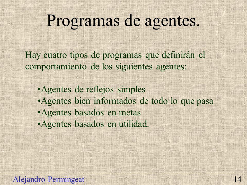 Programas de agentes.Hay cuatro tipos de programas que definirán el comportamiento de los siguientes agentes: