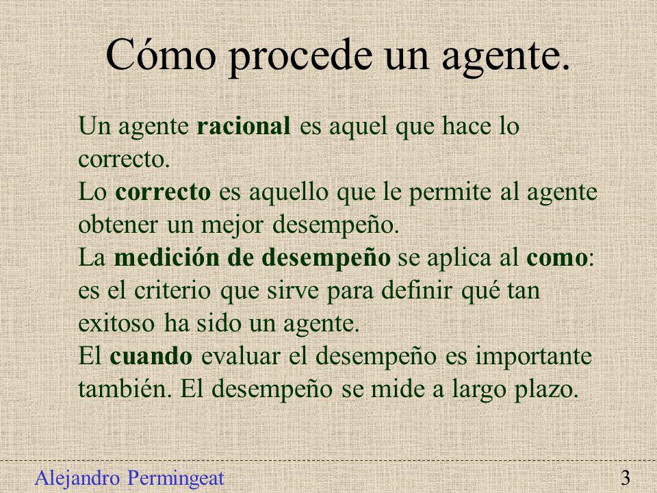 Cómo procede un agente.Un agente racional es aquel que hace lo correcto. Lo correcto es aquello que le permite al agente obtener un mejor desempeño.