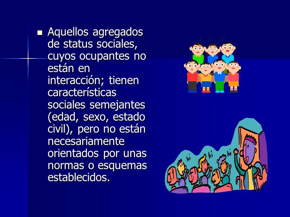 Aquellos agregados de status sociales, cuyos ocupantes no están en interacción; tienen características sociales semejantes (edad, sexo, estado civil), pero no están necesariamente orientados por unas normas o esquemas establecidos.