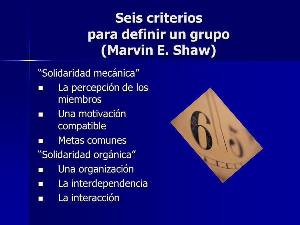 Seis criterios para definir un grupo (Marvin E. Shaw)