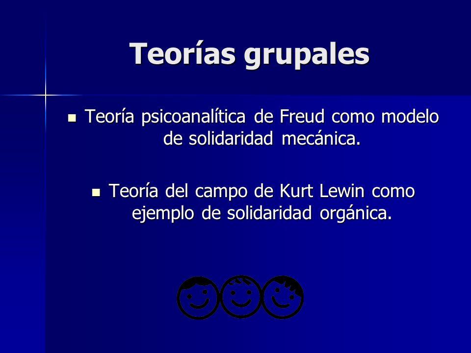 Teorías grupales Teoría psicoanalítica de Freud como modelo de solidaridad mecánica.