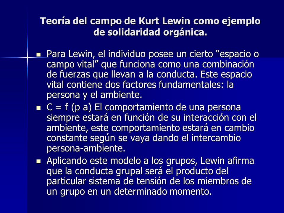 Teoría del campo de Kurt Lewin como ejemplo de solidaridad orgánica.