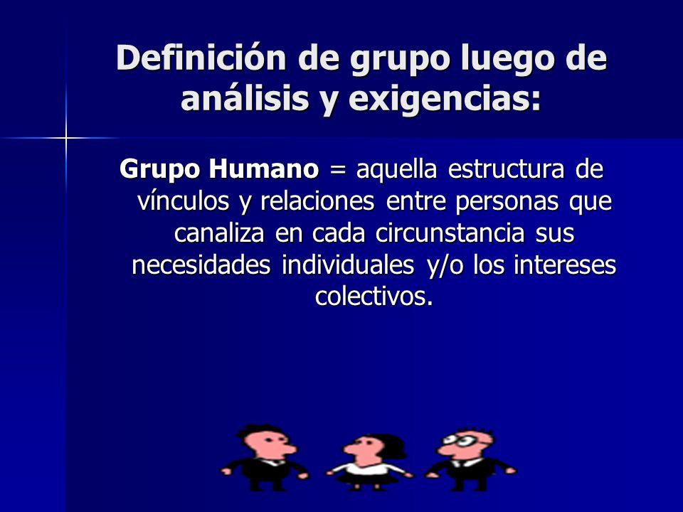 Definición de grupo luego de análisis y exigencias: