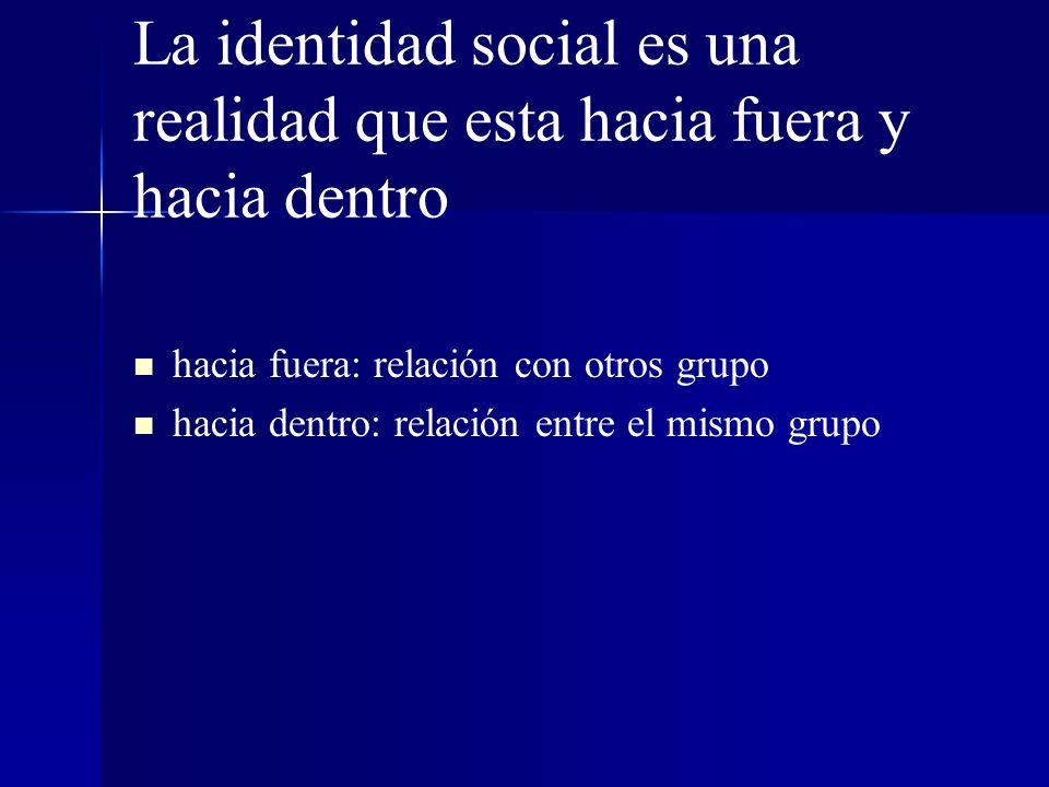 La identidad social es una realidad que esta hacia fuera y hacia dentro